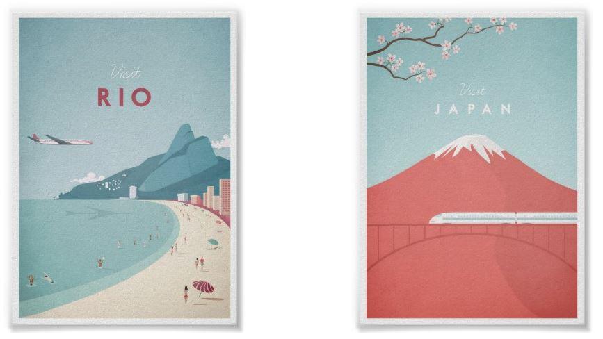 Rio Vintage Travel Poster & Japan Vintage Travel Poster