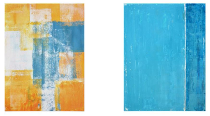 Blue and Yellow Abstract Poster Pairs