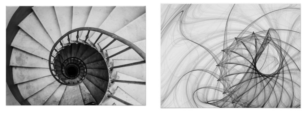 black and white spiral posters