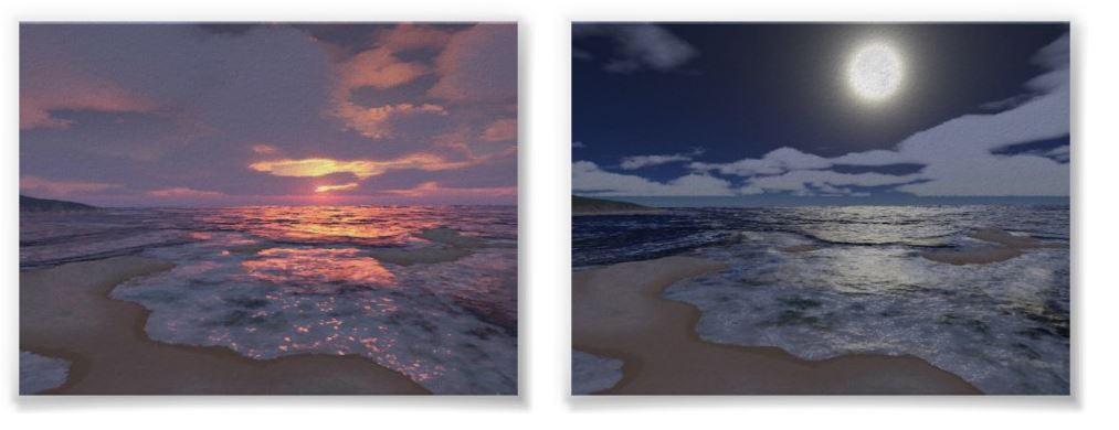 Night and Day Beach Posters Pair