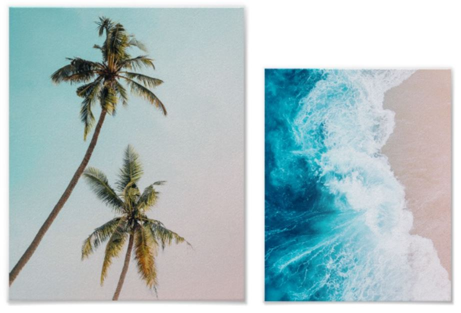 Palm Tree and Ocean Wave Beach Posters
