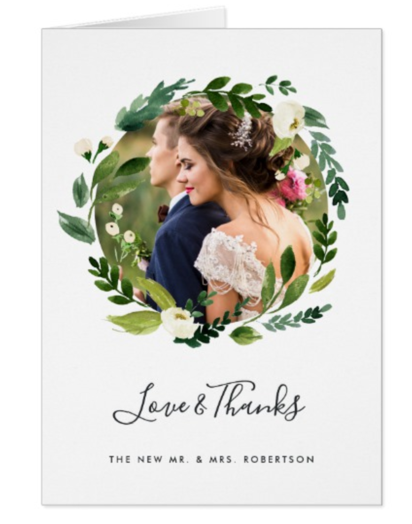 Floral Wreath Wedding Thank You Cards