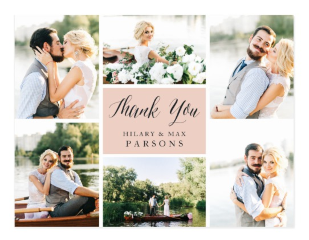 Photo Collage Wedding Thank You Cards