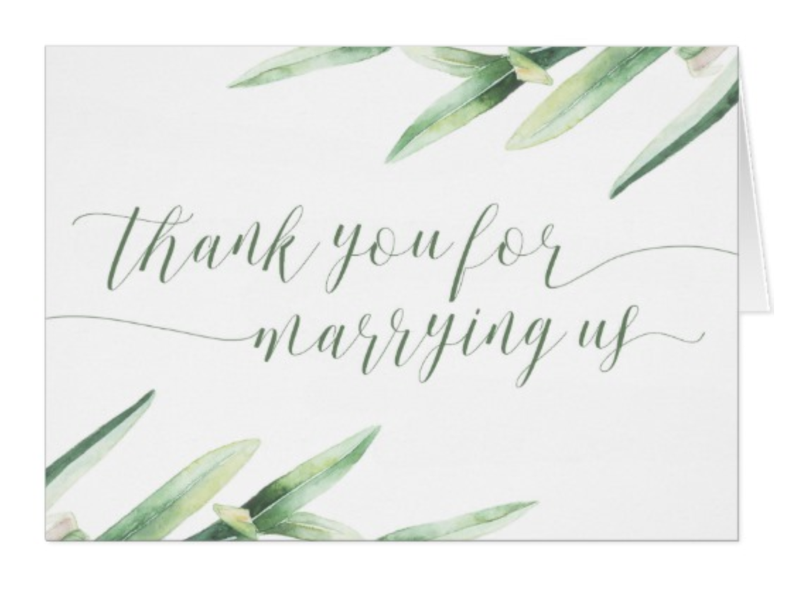 Officiant Wedding Thank You Cards