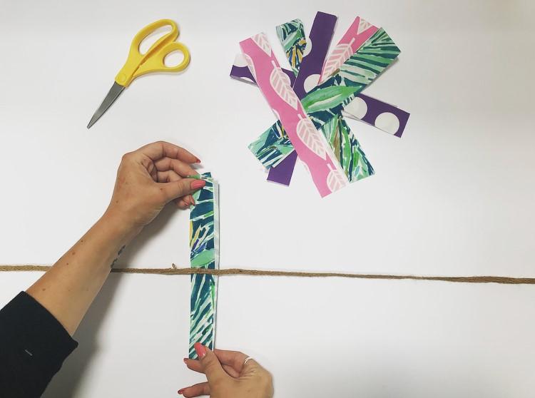 DIY Fabric Garland - attaching fabric to ribbon