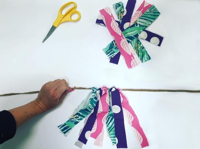 DIY Fabric Garland - Adding Fabric