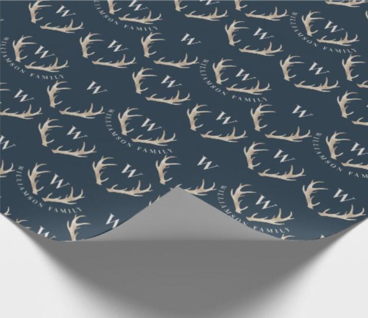 Antler Monogram Initial Christmas Wrapping Paper