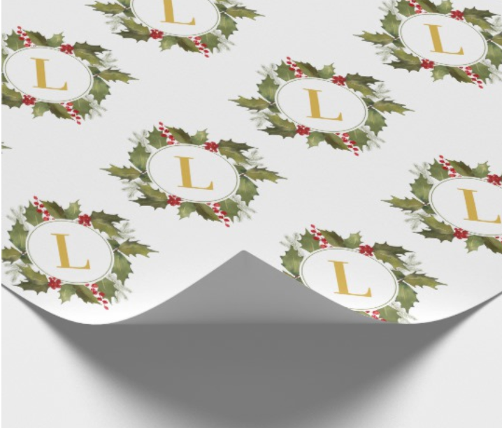 Holly Wreath Monogram Christmas Wrapping Paper