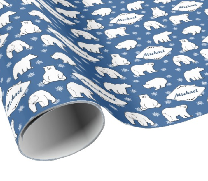 Polar Bear Kids Name Wrapping Paper