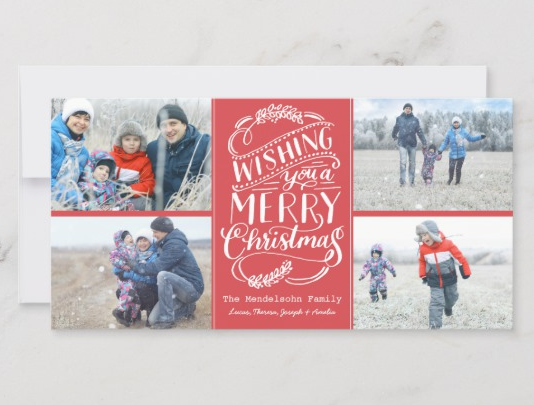 Photo Collage Family Flat Christmas Card