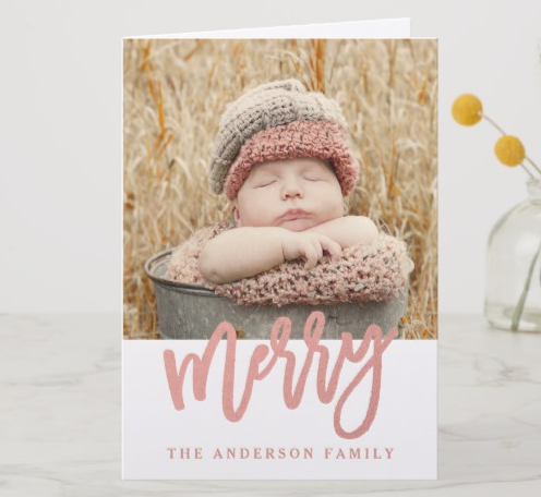 Rose Gold Baby Christmas Card