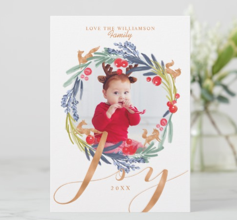 Wreath Baby's First Christmas Card