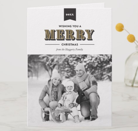 Black and White Family Vintage Christmas Card