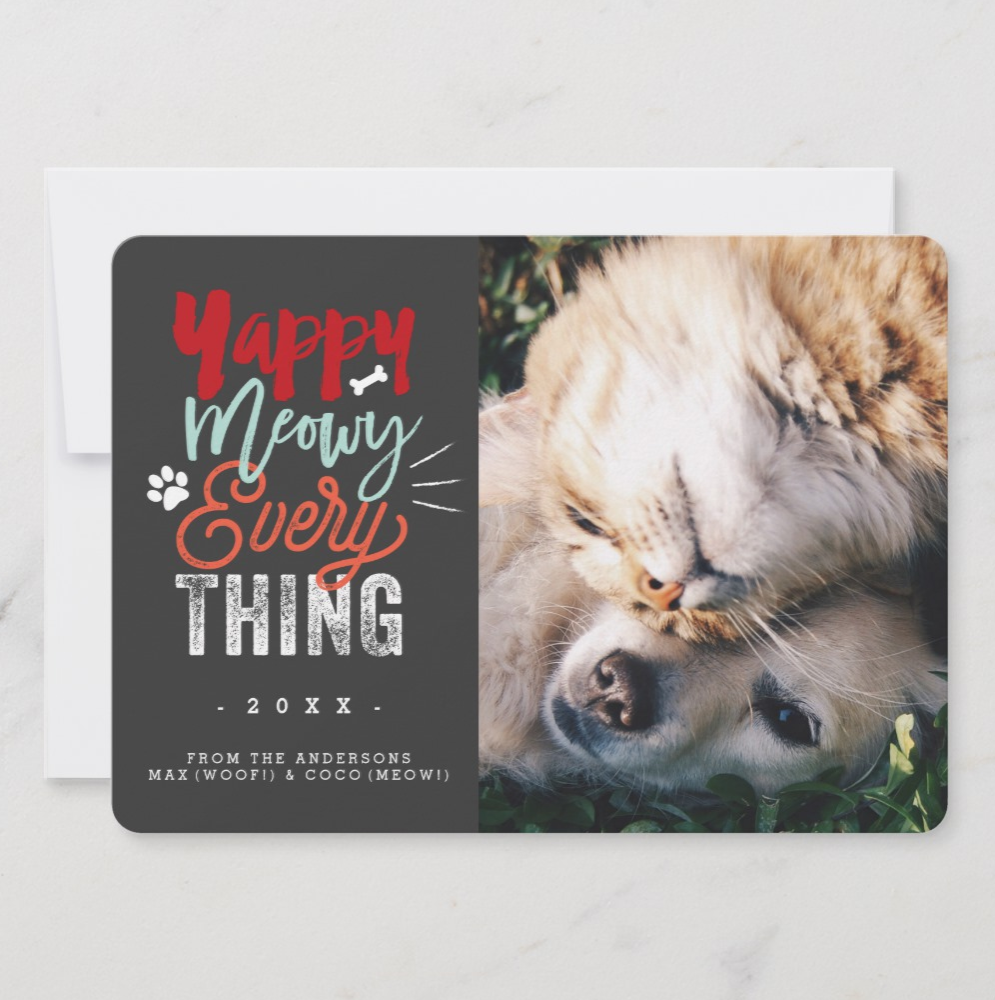 Cute Cat & Dog Photo Christmas Card