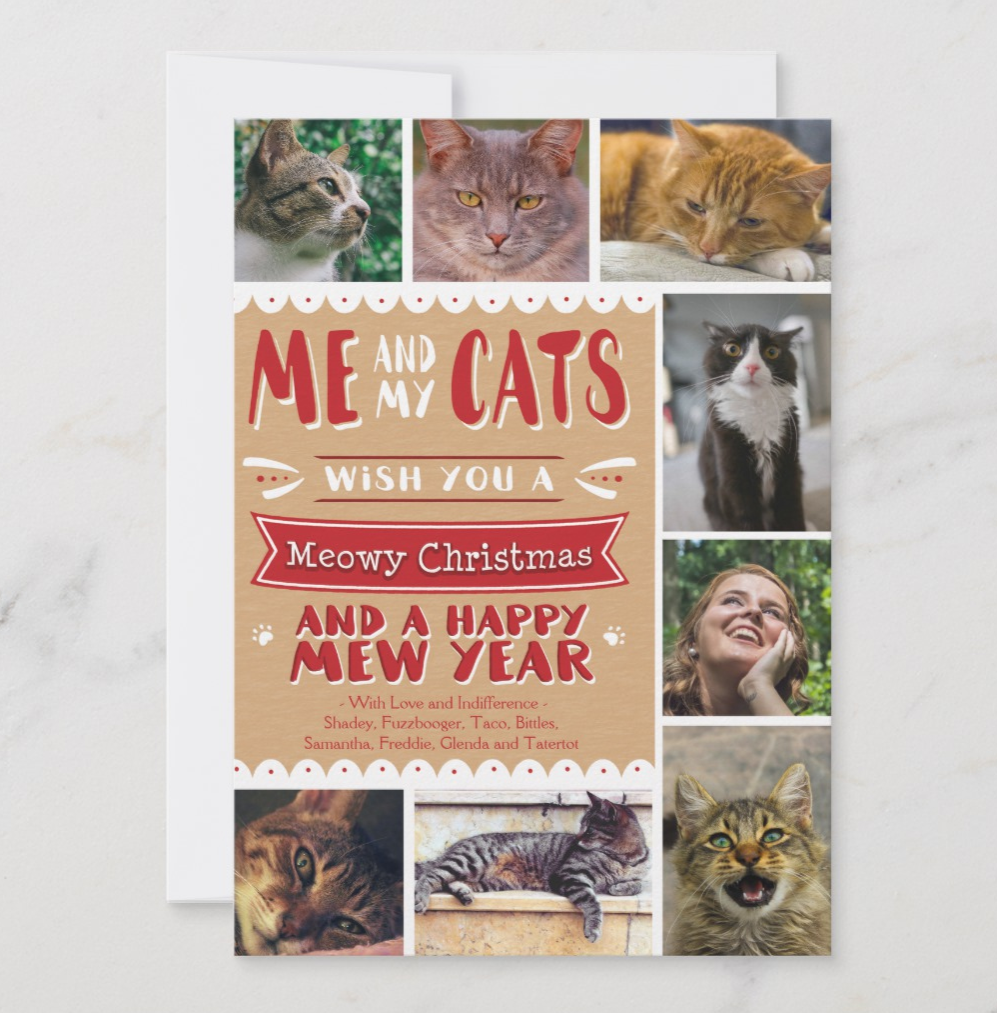 Cat Photo Collage Christmas Card