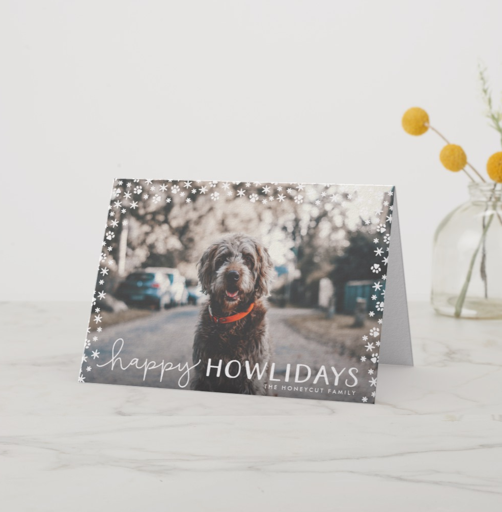 Happy Howlidays Dog Photo Christmas Card