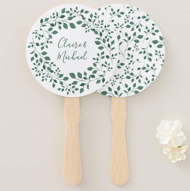 Rustic Botanical Wedding Programme Fans
