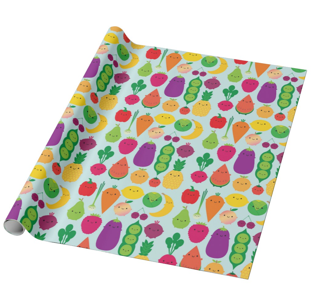 Kawaii Fruit and Vegetable Wrapping paper