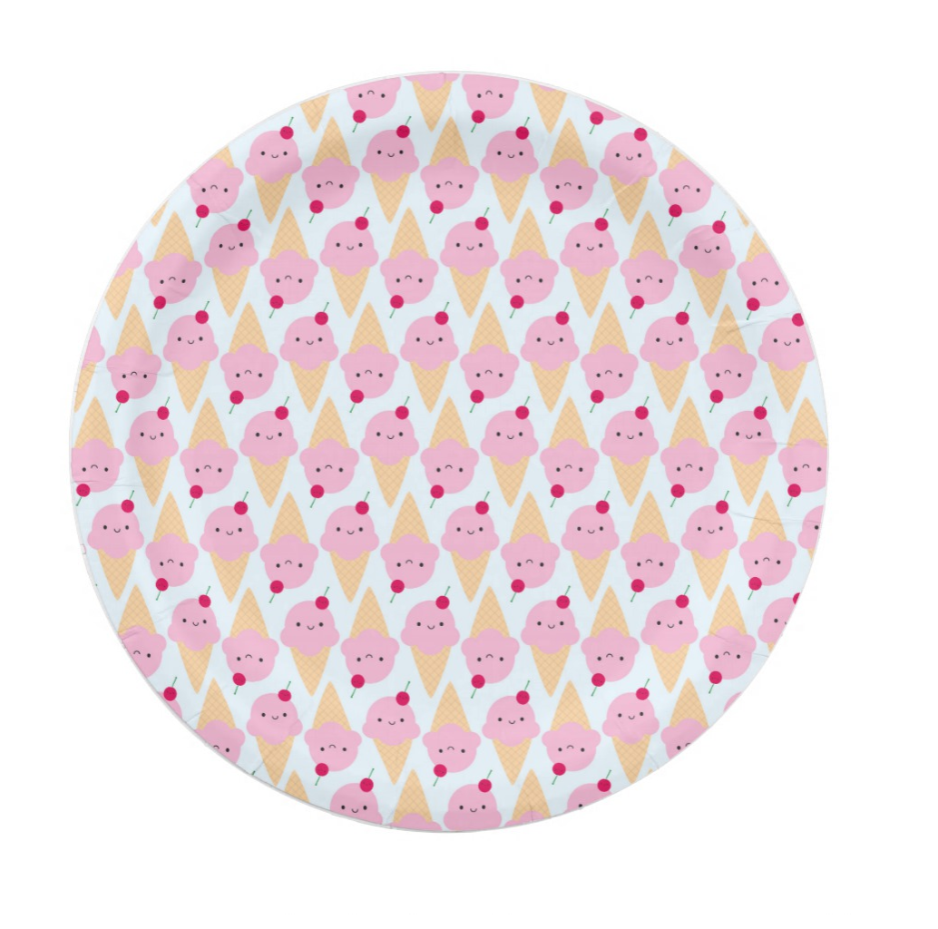 Ice Cream Cone Kawaii Paper Plate