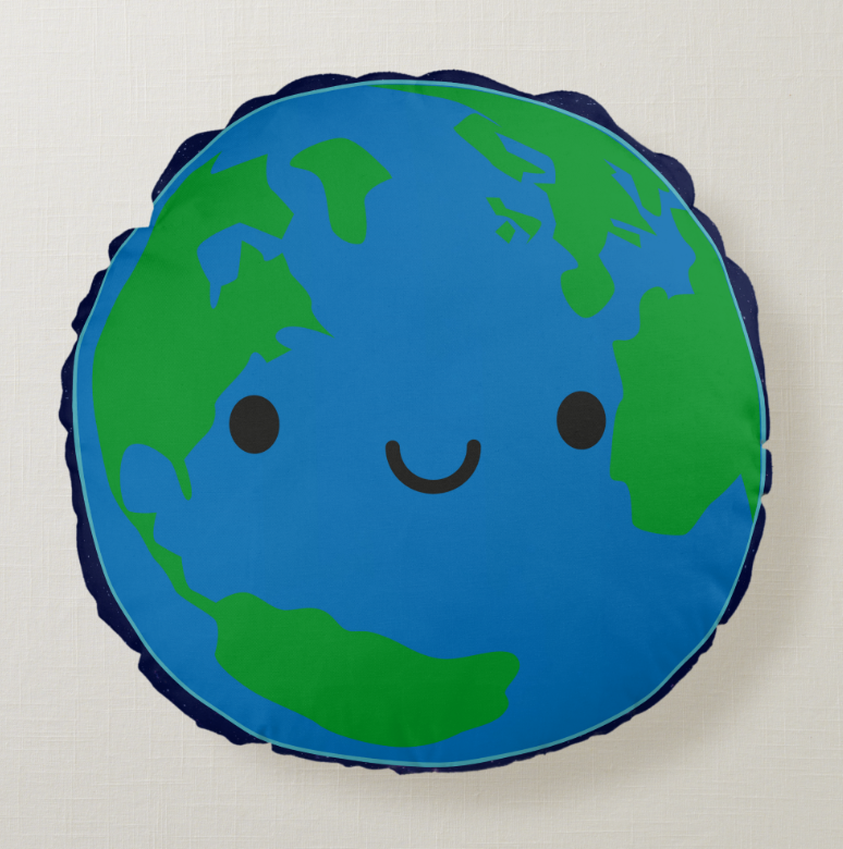 Cute Kawaii Planet Earth Cushion