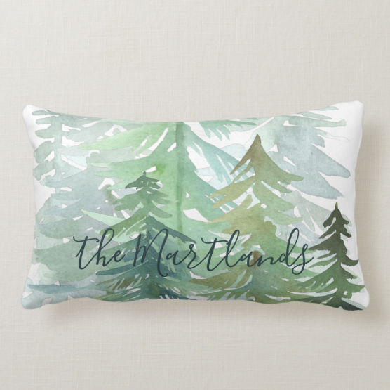 Watercolour Woodland Family Cushion