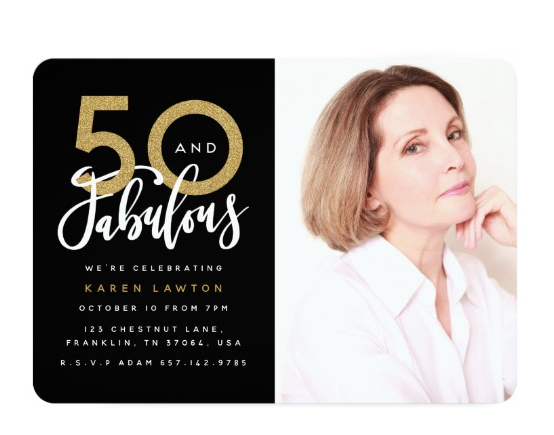 Fifty & Fabuous  Birthday Invitation